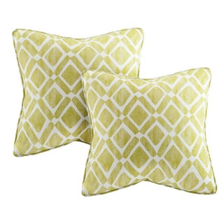 Madison Park Ella Printed Green 20-inch Square Pillows (Set of 2)
