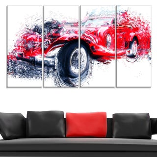 Red Vintage Classic Car' 4-piece Gallery-wrapped Canvas