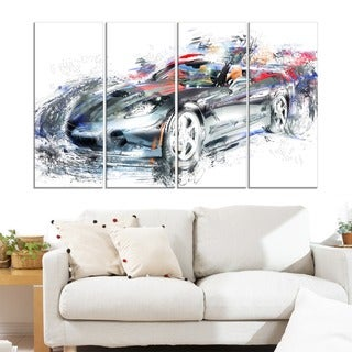 High End Luxury Car' 4-piece Gallery-wrapped Canvas