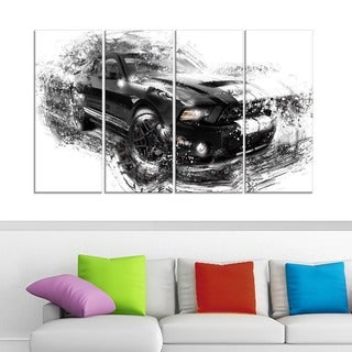 Black and White Muscle Car' 4-piece Gallery-wrapped Canvas