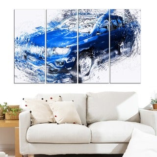 Blue Tuner Car' 4-piece Gallery-wrapped Canvas