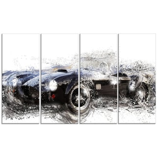 Black Roadster Convertible' 4-piece Gallery-wrapped Canvas