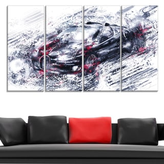 Red and Black Super Car' 4-piece Gallery-wrapped Canvas