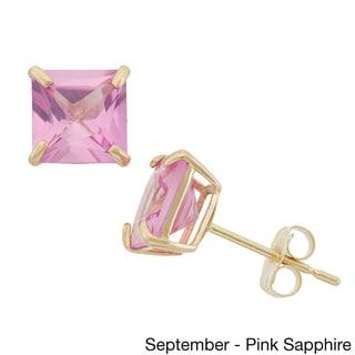 10k Yellow Gold 6mm Princess-cut Birthstone Stud Earrings