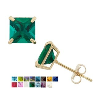 10k Yellow Gold 6mm Princess-cut Birthstone Stud Earrings