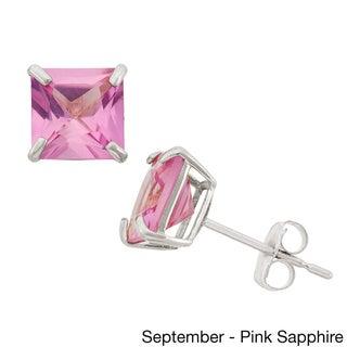10k White Gold 6mm Princess-cut Birthstone Stud Earrings