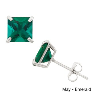 10k White Gold 6mm Princess-cut Birthstone Stud Earrings (2 options available)