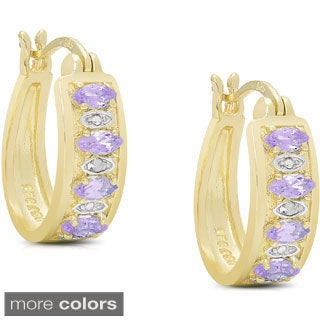 Dolce Giavonna Gold over Sterling Silver Gemstone Diamond Accent Hoop Earrings