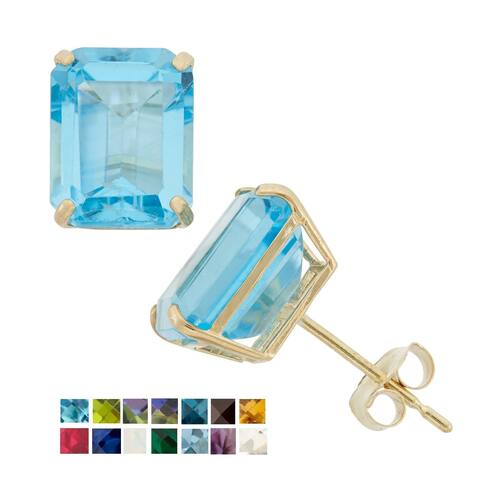 10k Yellow Gold Emerald-cut Birthstone Stud Earrings