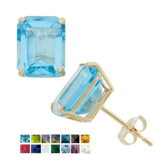 10k Yellow Gold Emerald Cut Birthstone Stud Earrings