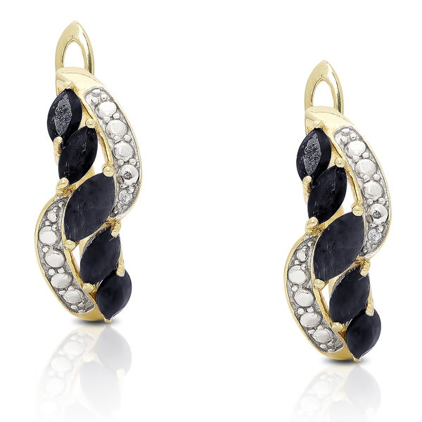 Dolce Giavonna Gold over Silver Gemstone and Diamond Accent Dangle Earrings