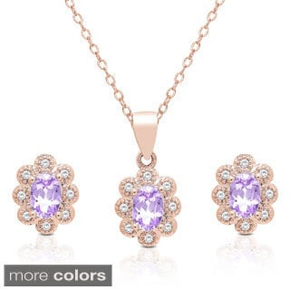 Dolce Giavonna Oval Gemstone and Cubic Zirconia Necklace and Earrings Set