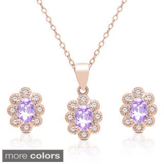 Dolce Giavonna Oval Gemstone and Cubic Zirconia Necklace and Earrings Set (2 options available)