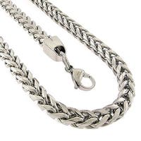 Stainless Steel Men's White Silver Franco Chain and Bracelet 2-piece Jewelry Set