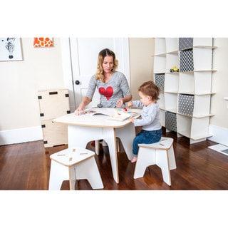 Folding Modern Kids Table and Stool Set