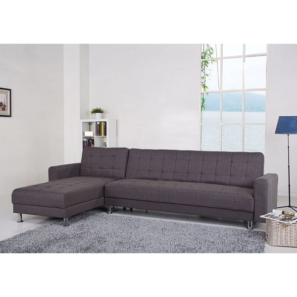 Frankfort Gray Convertible Sectional Sofa Bed Free Shipping