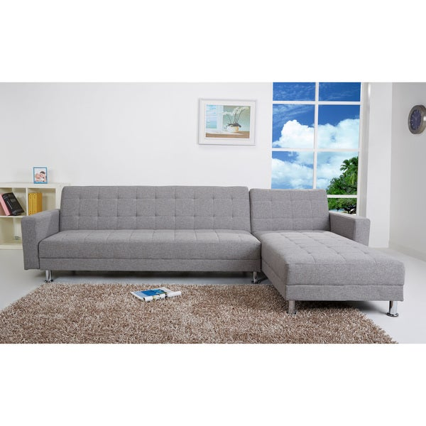Frankfort ash convertible sectional sofa bed free for Sectional sofa bed overstock