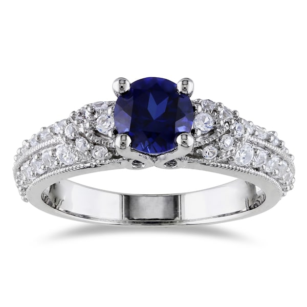 miadora sterling silver created blue and white sapphire engagement ring - White Sapphire Wedding Rings