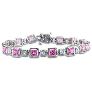 Miadora Sterling Silver 7 1/2ct TGW Created Pink Sapphire Bracelet