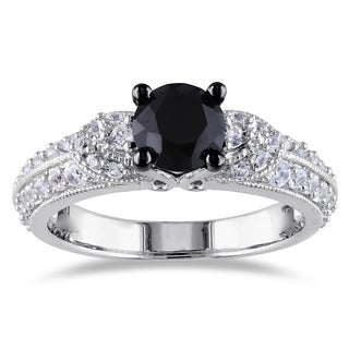 Miadora Sterling Silver Black Spinel and White Sapphire Engagement Ring