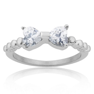 Stainless Steel Cubic Zirconia Heart Bow Band Ring