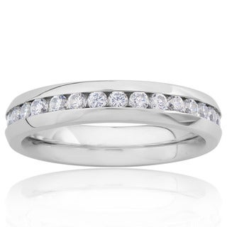 Stainless Steel Cubic Zirconia Eternity Bridal Band Ring