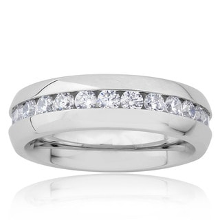 Stainless Steel Cubic Zirconia 6mm Eternity Bridal Band Ring