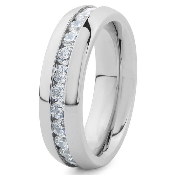 Stainless Steel Cubic Zirconia 6mm Eternity Bridal Band Ring - Silver