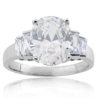 Stainless Steel Oval-cut Cubic Zirconia Bridal-Style Ring - Silver
