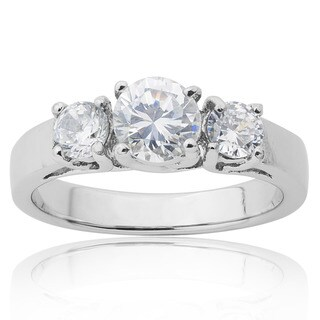 Stainless Steel Cubic Zirconia 3-stone Engagement-style Ring