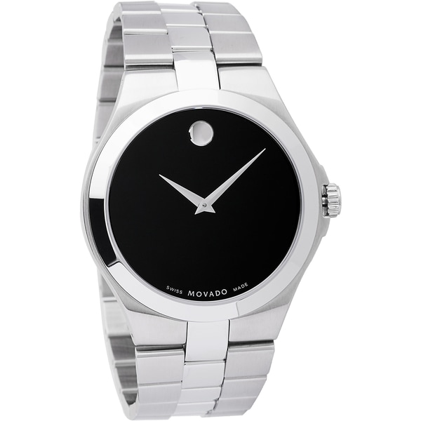 3a025630f28ab Shop Movado Men s Stainless Steel Black Dial Watch - Silver - Free ...