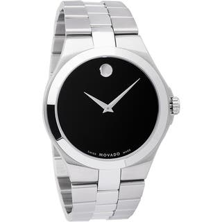 Movado Men's 0606555 Stainless Steel Black Dial Watch|https://ak1.ostkcdn.com/images/products/9765407/P16936142.jpg?impolicy=medium
