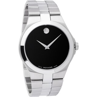 Movado Men's Stainless Steel Black Dial Watch - Silver