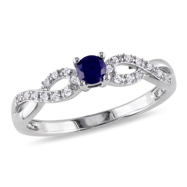 Miadora Silver Created Sapphire and 1/10ct TDW Diamond Ring (H-I, I2-I3)