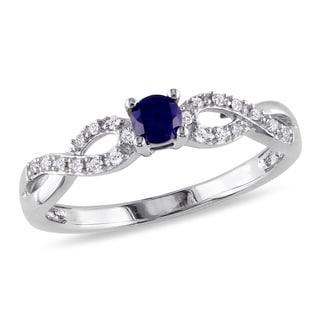 Miadora Silver Created Sapphire and 1/10ct TDW Diamond Ring (H-I, I2-I3)