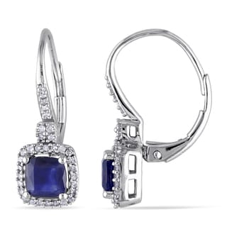 Miadora Signature Collection 10k White Gold Sapphire and 1/5ct TDW Diamond Birthstone Square Halo Leverback Earrings