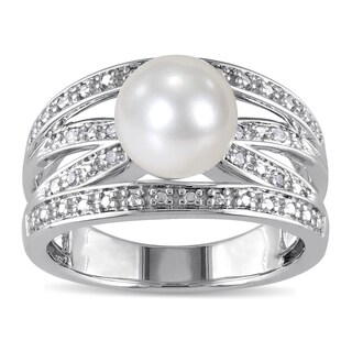 Miadora Silver Cultured Pearl and Diamond Accent Ring (9-9.5 mm) (H-I, I2-I3)