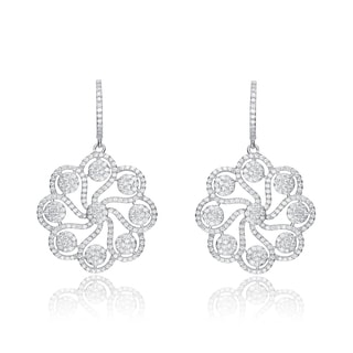 Collette Z Sterling Silver Cubic Zirconia Round Fancy Earrings