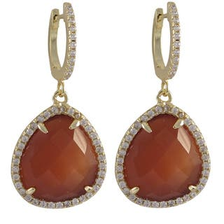 Luxiro Sterling Silver Gold Finish Faceted Semi-precious Gemstone and Cubic Zirconia Teardrop Earrings|https://ak1.ostkcdn.com/images/products/9765427/P16936140.jpg?impolicy=medium