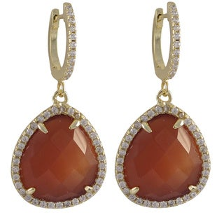 Luxiro Sterling Silver Gold Finish Faceted Semi-precious Gemstone and Cubic Zirconia Teardrop Earrings