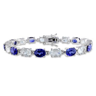 Miadora Sterling Silver Created Sapphire and White Topaz Bracelet