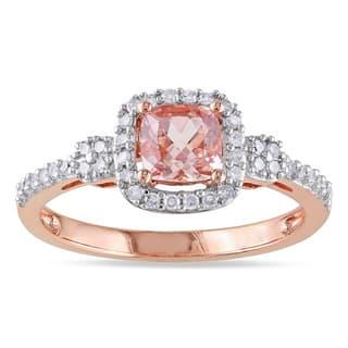 Miadora 10k Rose Gold Morganite and 1/5ct TDW Diamond Halo Ring (G-H, I1-I2)|https://ak1.ostkcdn.com/images/products/9765440/P16936168.jpg?impolicy=medium