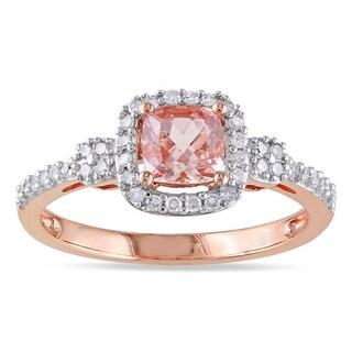 Miadora 10k Rose Gold Morganite and 1/5ct TDW Diamond Halo Ring