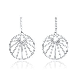 Collette Z Sterling Silver Cubic Zirconia Round Dangle Earrings