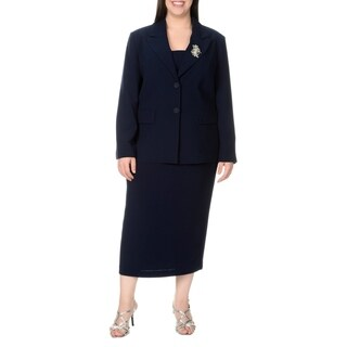 Giovanna Signature Women's Solid Polyester Plus-size 2-piece Skirt Suit
