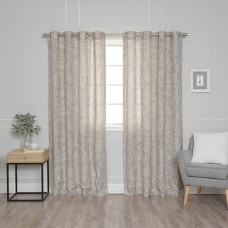 "Aurora Home Paisley Watercolor Grommet Top 84-inch Curtain Panel Pair - 52""W x 84""L"