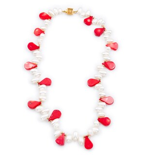 Pear-shaped Red Coral Freshwater Biwa Pearl Necklace (7.5 mm-13 mm)
