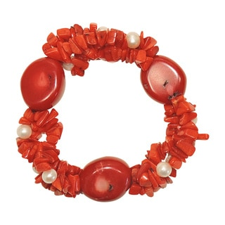 Coral Chip Freshwater Potato Pearl Stretch Bracelet (5-6 mm)