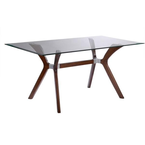 Somette Luisa Dark Walnut Rectangular Mid-century Style Dining Table