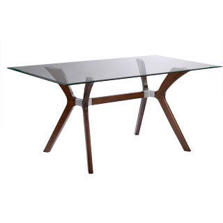 Somette Luisa Dark Walnut Rectangular Mid-century Style Dining Table